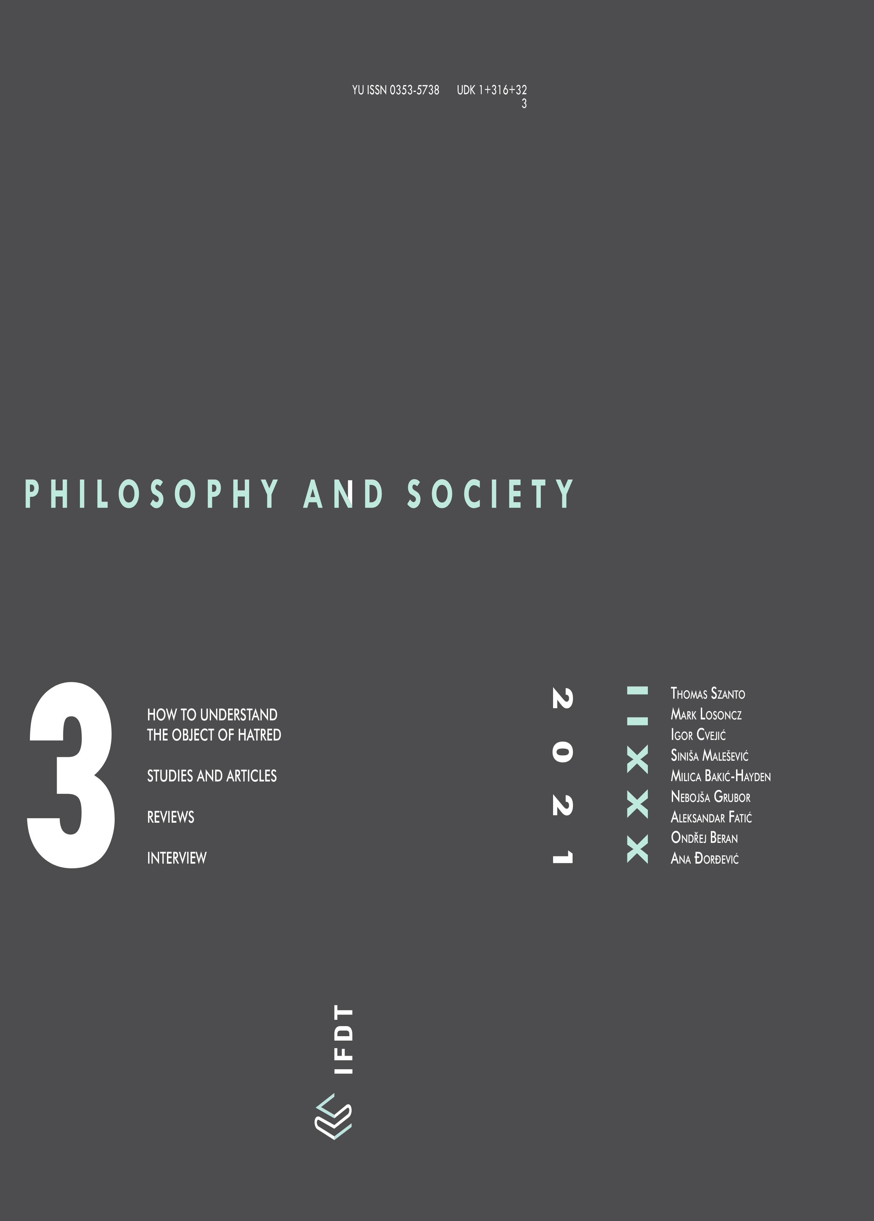 View Vol. 32 No. 3 (2021): Filozofija i društvo / Philosophy and Society